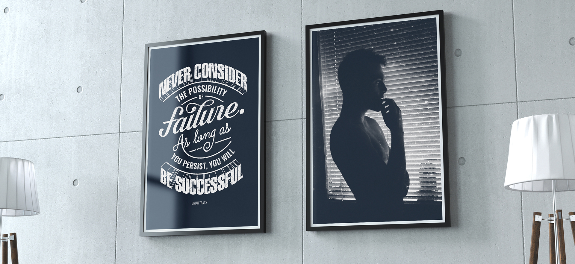 Typographic Poster next to photography photo on an office wall