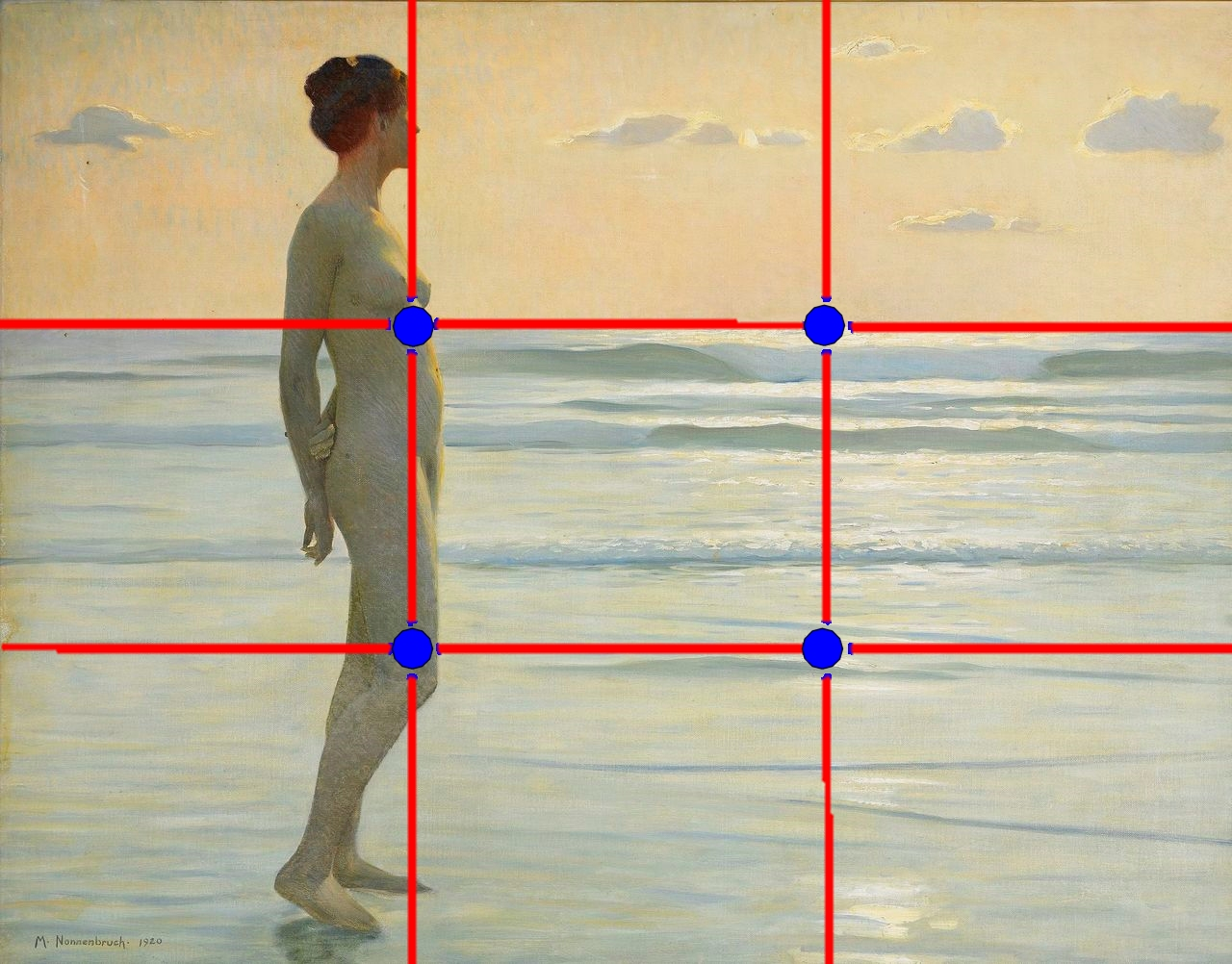 Rule of Thirds Grid Overlay on image of beach